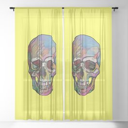 The Happy Skull (Yelow) Sheer Curtain