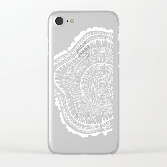 Tree Rings – White Ink on Kraft Clear iPhone Case