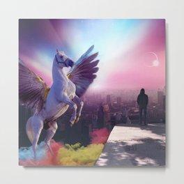 Pegasus in the city Metal Print