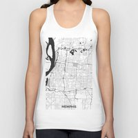 memphis Tank Tops featuring Memphis Map Gray by City Art Posters