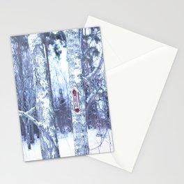 Red Bird House in Winter White Scene #decor #society6 #buyart Stationery Cards