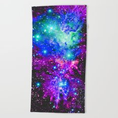 Fox Fur Nebula Galaxy Pink Purple Blue Beach Towel