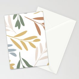 Nature Art, Gold, Blush, Terracotta, Green, Leaves Print Stationery Cards