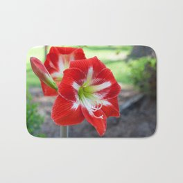 Red Amaryllis Flowers Bath Mat