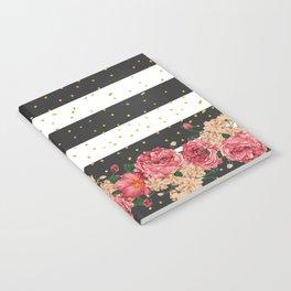 Modern black stripes gold faux glitter floral  Notebook