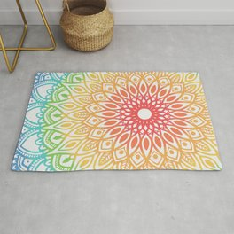 Rainbow Colored Mandala Rug