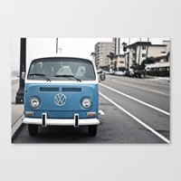 volkswagen Canvas Prints featuring Volkswagen Bus by somethinghitdom