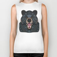 ornate Biker Tanks featuring Ornate Black Bear by ArtLovePassion