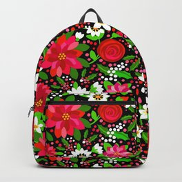 Christmas Flowers and Holly, Poinsettia, Roses and Lilies, holidays, girls floral gift, gift for mom Backpack