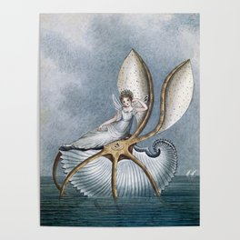 """Fairy Resting On A Shell"" by Amelia Jane Murray Poster"