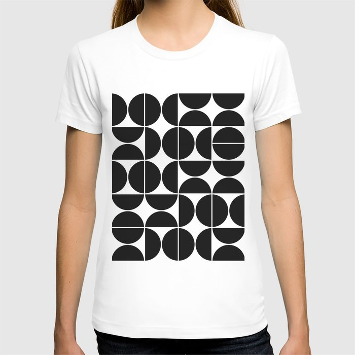 Mid Century Modern Geometric 04 Black T-shirt