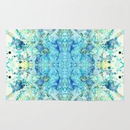 Aqua & Mint Symmetrical Watercolor Abstract Rug