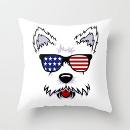 Westie Dog Face with American Flag Sunglasses Throw Pillow