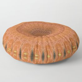 Ornamented mandala in orange tones Floor Pillow