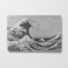 Black & White Japanese Great Wave off Kanagawa by Hokusai Metal Print