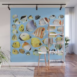 Butterflyfish_Skyblue base Wall Mural
