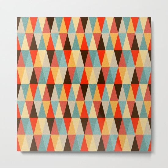 Red & Brown Geometric Triangle Pattern Metal Print