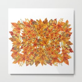 Autumn leaves - Acorn, clubs - Pine cones Metal Print