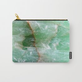 Crystalized Pale Green Quartz Slab with Copper Vein Carry-All Pouch