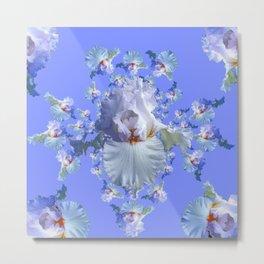 BLUE-WHITE IRIS ABSTRACT PATTERN Metal Print