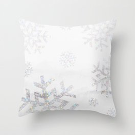 Snowflake Glitter Throw Pillow