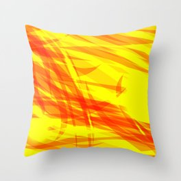 Gold and smooth sparkling lines of orange ribbons on the theme of space and abstraction. Throw Pillow