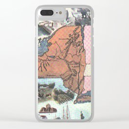 Vintage Map of New York (1921) Clear iPhone Case