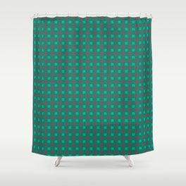 Green gray , plaid Shower Curtain