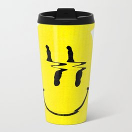 Smiley Glitch Metal Travel Mug