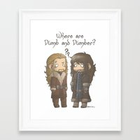 dumb and dumber Framed Art Prints featuring Dumb and Dumber by ScottyTheCat
