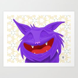 Anselmo the fat violet cat Art Print
