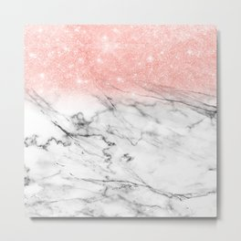 Trend Modern faux rosegold pink glitter ombre marble Metal Print