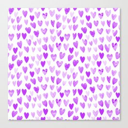 Watercolor Hearts purple pantone love pattern design minimal modern valentines day Canvas Print