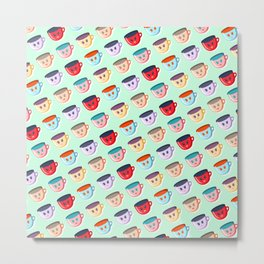 Cute smiling mugs pattern Metal Print