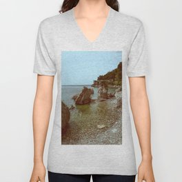 A coastline and a castle Unisex V-Neck