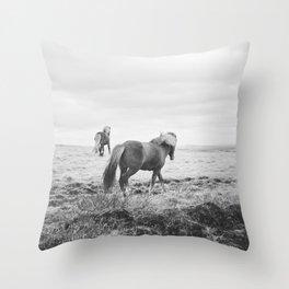 Modern Animal Print, Icelandic Horses Throw Pillow