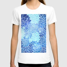 Space Dahlias Sky Blue T-shirt