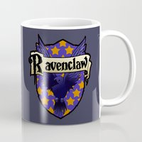 ravenclaw Mugs featuring Ravenclaw Crest by AriesNamarie