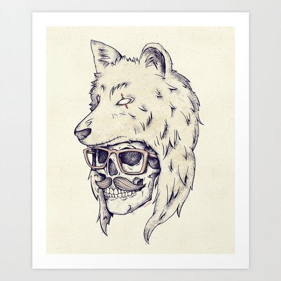 WOLF HAT Art Print