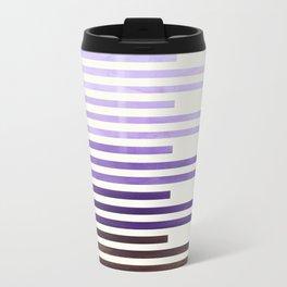 Purple Watercolor Gouache Minimalist Geometric Staggered Stripes Mid Century Art Travel Mug