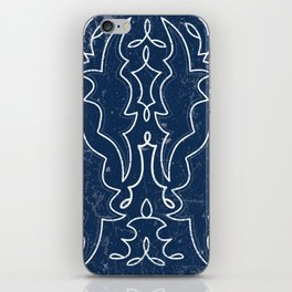 Vintaged/Distressed Cowboy Boot Stitch Pattern in Blue iPhone Skin