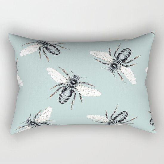 bees on blue Rectangular Pillow