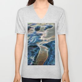 Abstract rock pool and sand on a beach Unisex V-Neck