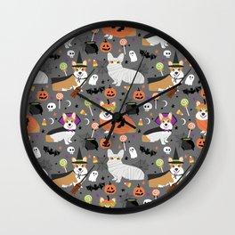 Corgi halloween costume ghost mummy vampire howl-o-ween dog gifts Wall Clock