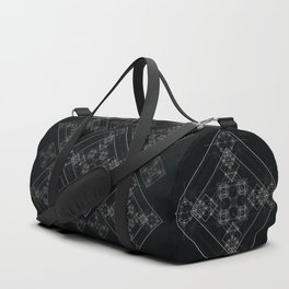 Black sacred geometry design with occult and wicca style Duffle Bag