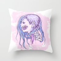 gore Throw Pillows featuring Pastel Gore Girl by Savannah Horrocks