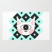 cyclops Area & Throw Rugs featuring Cat Cyclops by Arkeyana