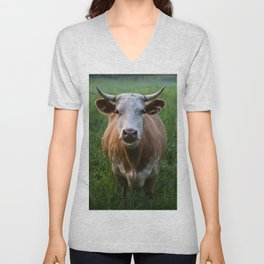 COW - FIELD - GREEN - VALLEY - NATURE - PHOTOGRAPHY - LANDSCAPE Unisex V-Neck