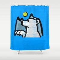 polar bear Shower Curtains featuring polar bear by jenapaul