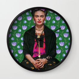 Flowers Frida Kahlo I Wall Clock